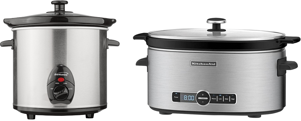 Two styles of slow cooker on a white background.