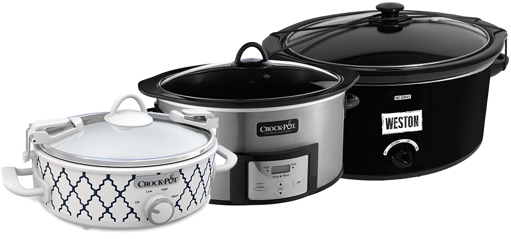 Three different slow cooker sizes on a white background.