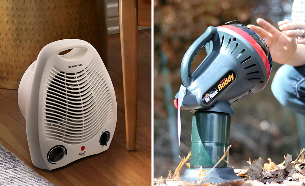 An electric and a gas space heater side by side.