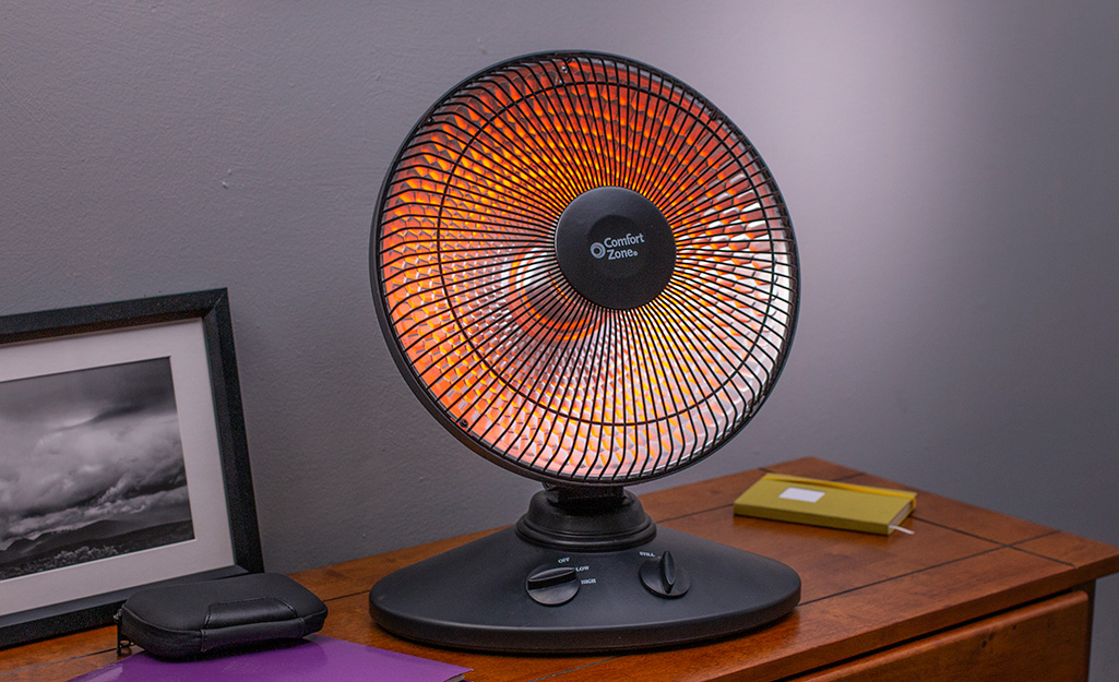 A portable radiant heater.