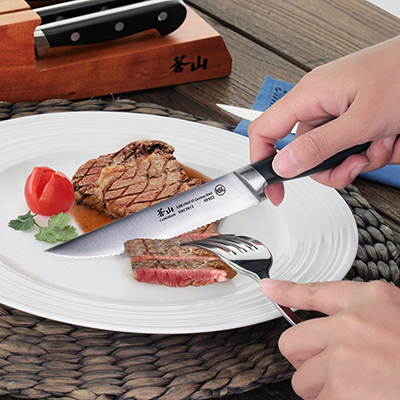 person cutting steak on a plate with a straight edge steak knife
