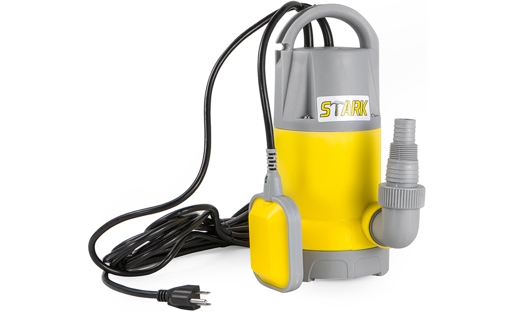 A corded sump pump against a white background.