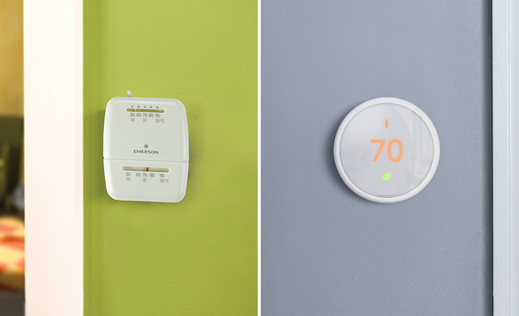 A side by side image of an analog thermostat and a digital thermostat.