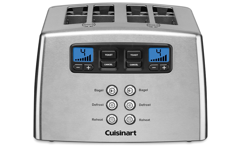 4 slice digital toaster with 2 digital screens and buttons