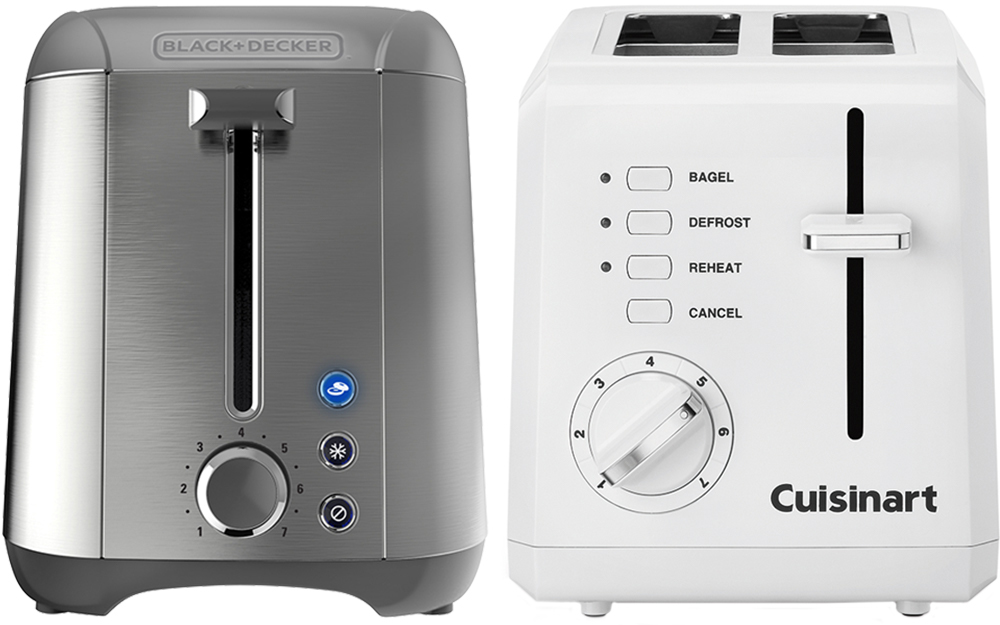a side-by-side image of a stainless steel 2-slice toaster and a plastic 2-slice toaster