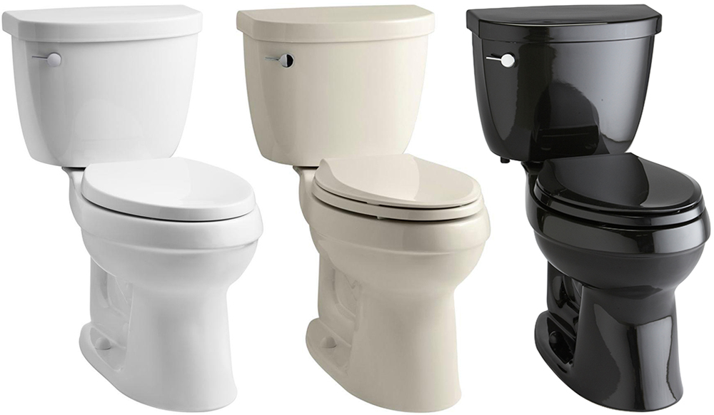 A white toilet, an almond toilet and a black toilet.
