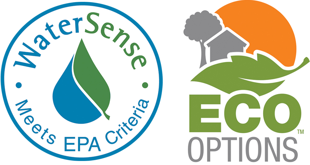 Logos for the EPA's WaterSense program and The Home Depot's Eco Options.