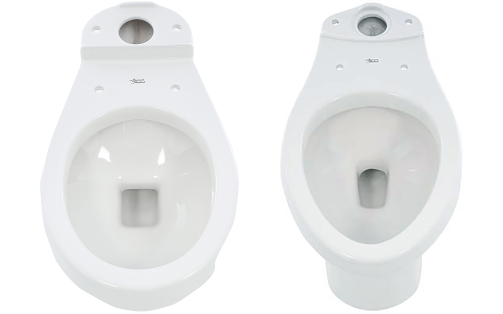 A standard round toilet bowl next to an elongated toilet bowl.