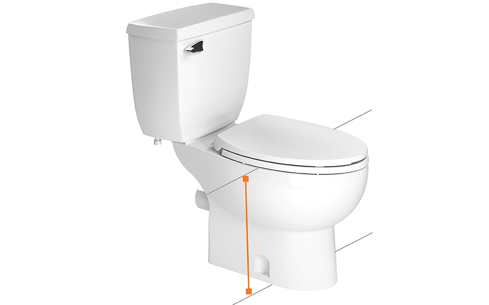 Toilet height is measured from the floor to the rim of the bowl.