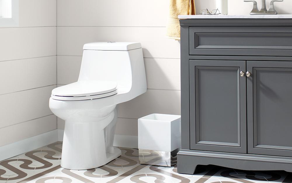 A one-piece toilet.