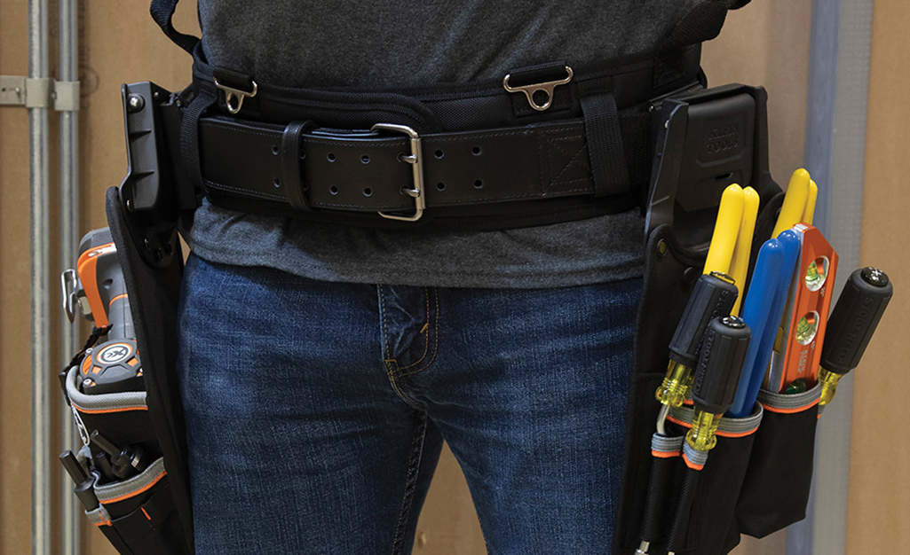 This is a tool belt with two tool pouches.