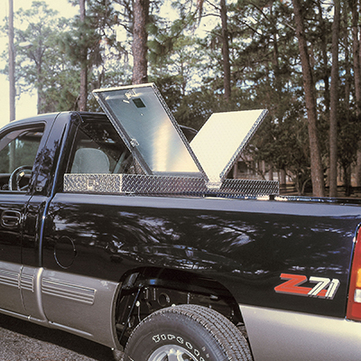 A pickup truck with a toolbox installed