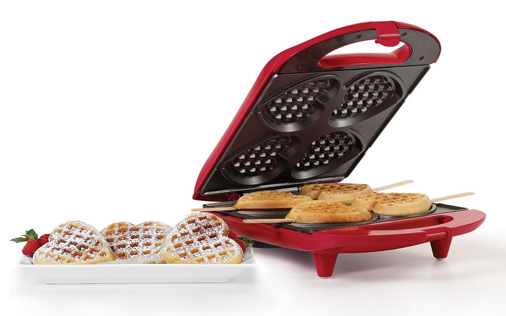 a waffle maker that makes heart shaped waffles