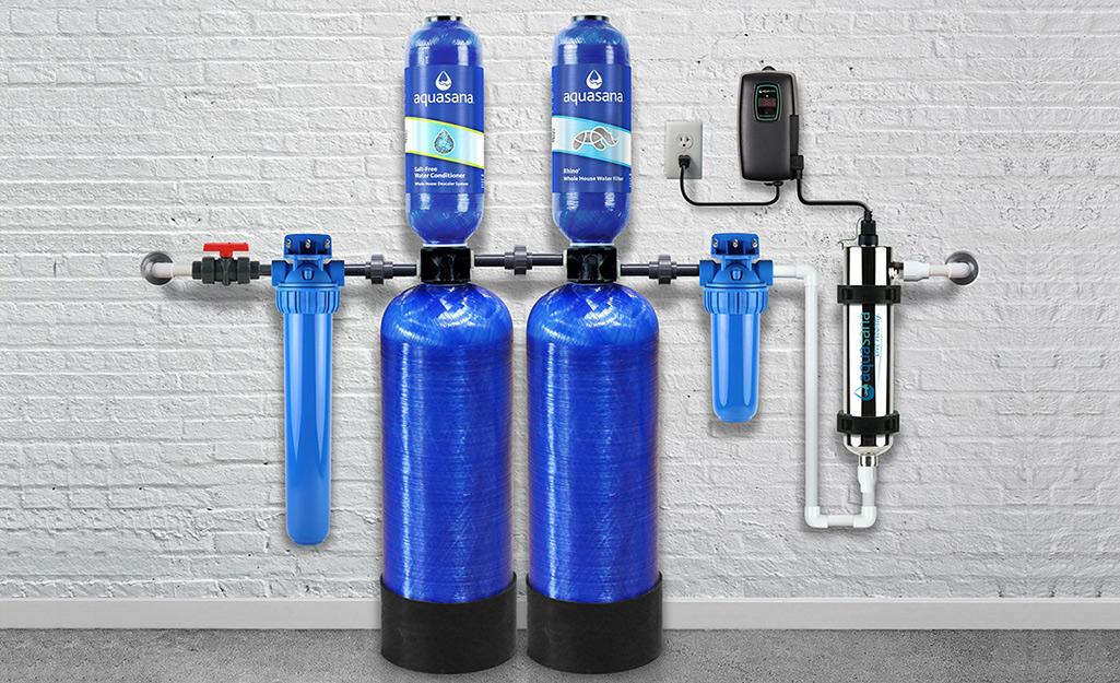 A dual-tank salt-free water softener.