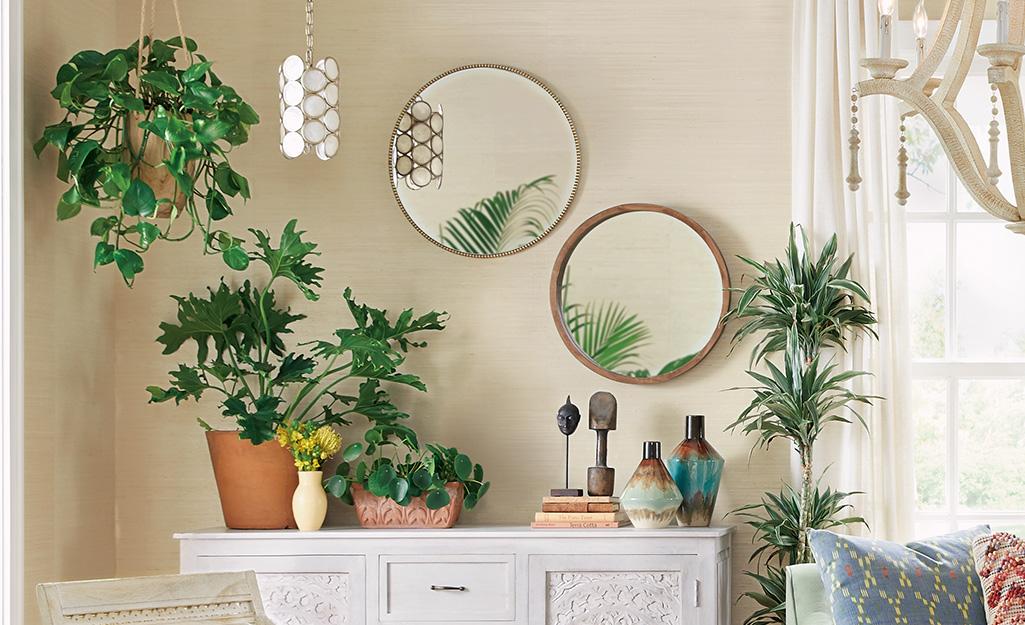 Cây lá, hai tấm gương trên tường và các loại phụ kiện được sử dụng trong khu vực sinh hoạt như kiểu trang trí boho.