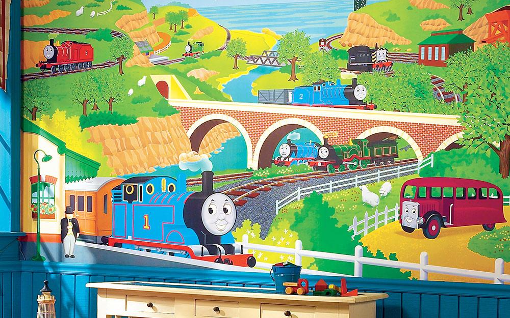 Hình nền tàu hỏa cho nhà trẻ của một cậu bé.