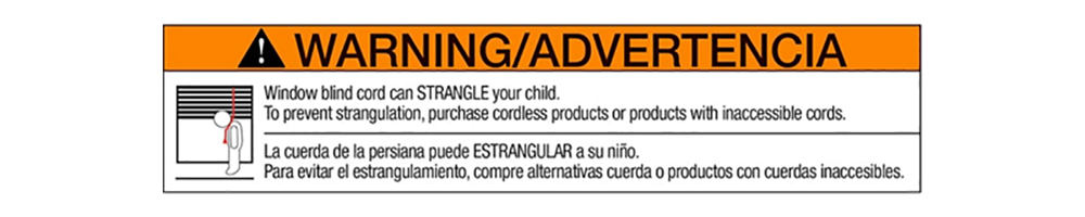 a children's safety warning label present on blinds and shades