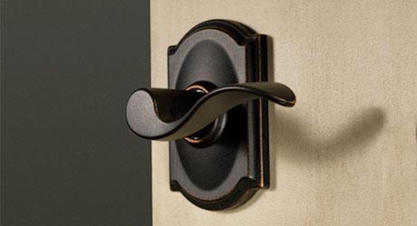Close up of closet door hardware.