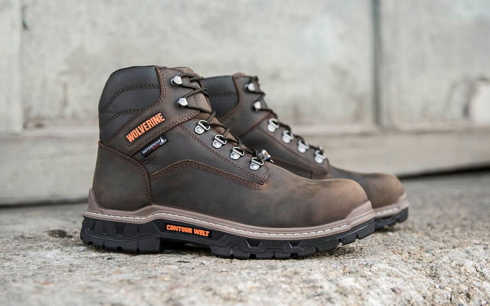 A pair of composite toe boots.