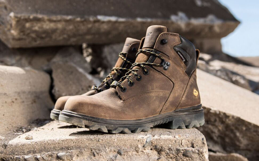 A pair of steel toe boots.