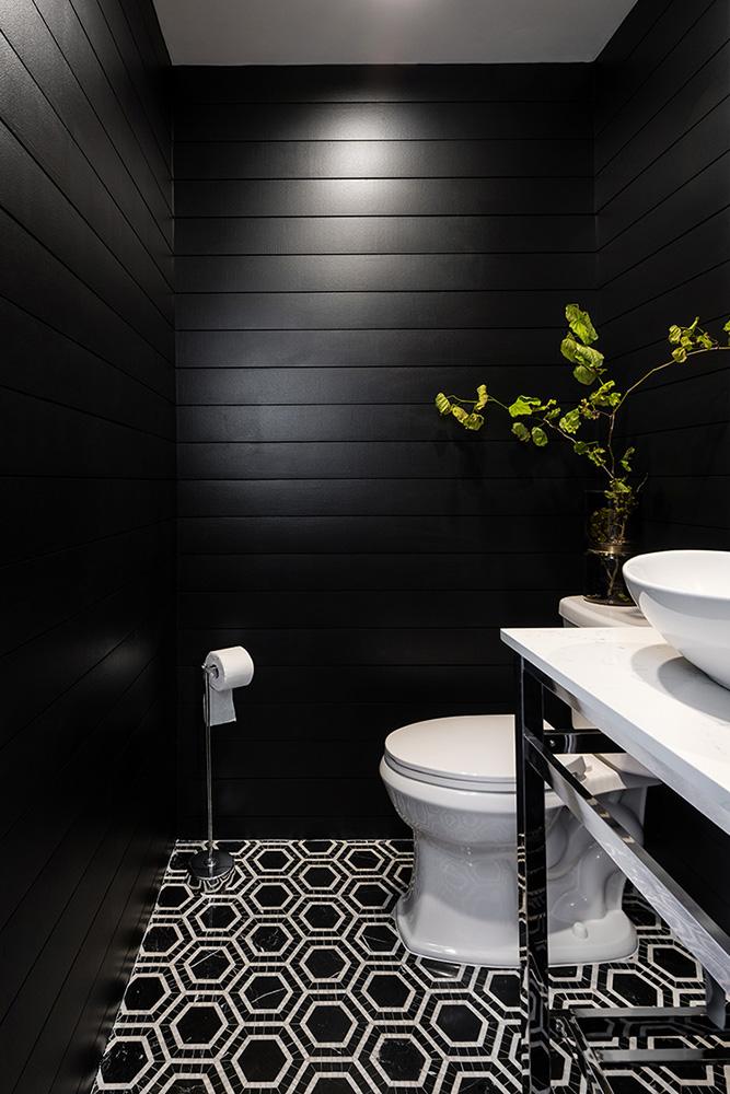 Create A Modern Powder Room Using Black Shiplap The Home Depot