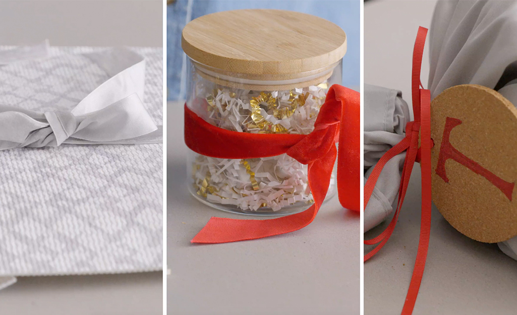 Gifts wrapped in a DIY pouch, canister and pillowcase.