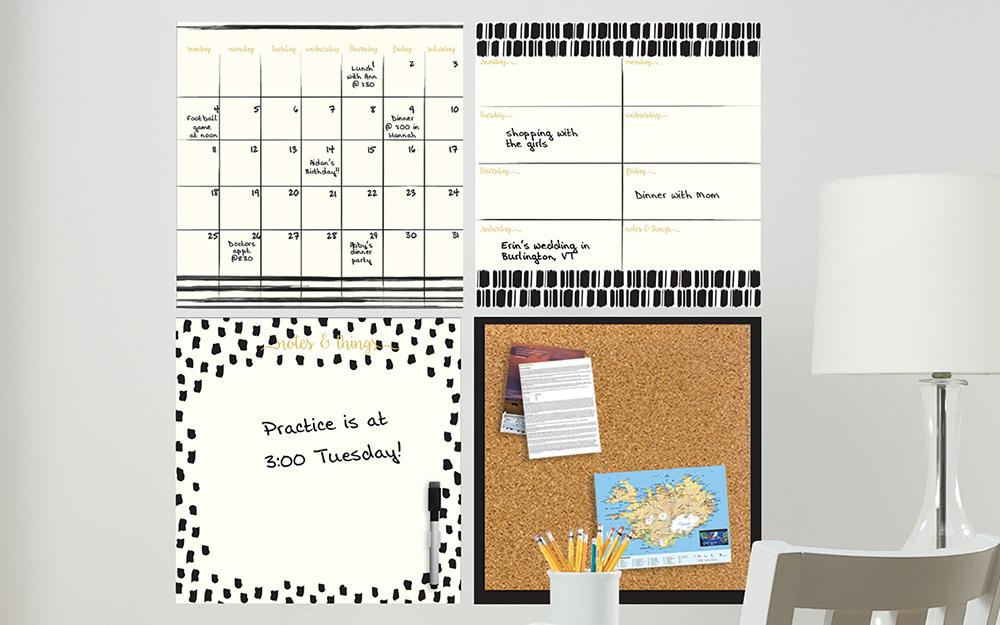 Các loại bảng thông báo và lịch dùng làm trang trí tủ văn phòng.