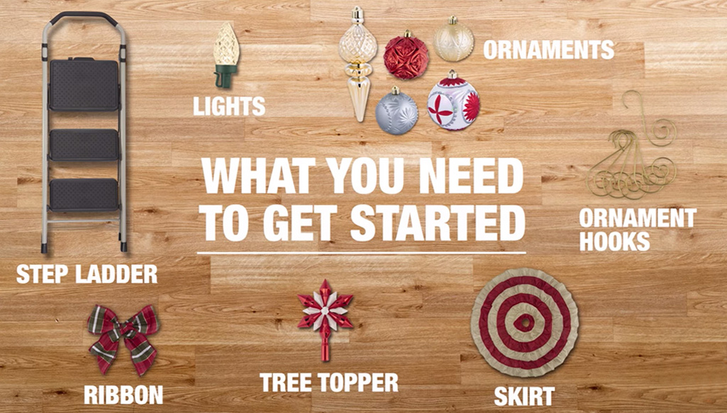 A picture of a step ladder, lights, ornaments, ribbons, ornament hooks, a tree topper and a tree skirt for decorating a Christmas tree.