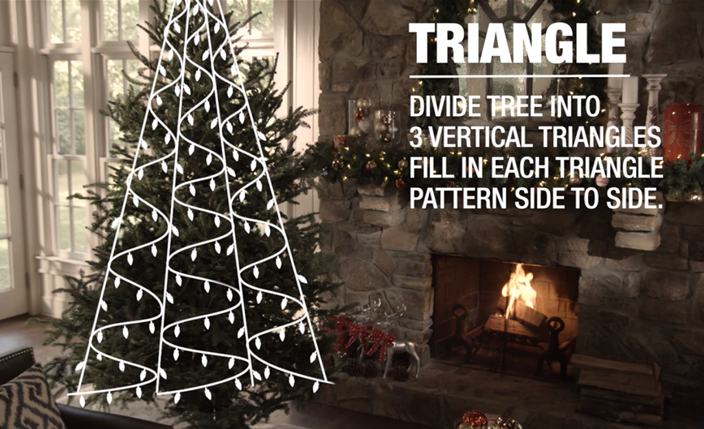 An illustration of a Christmas tree decorated with lights in three vertical triangle shapes.
