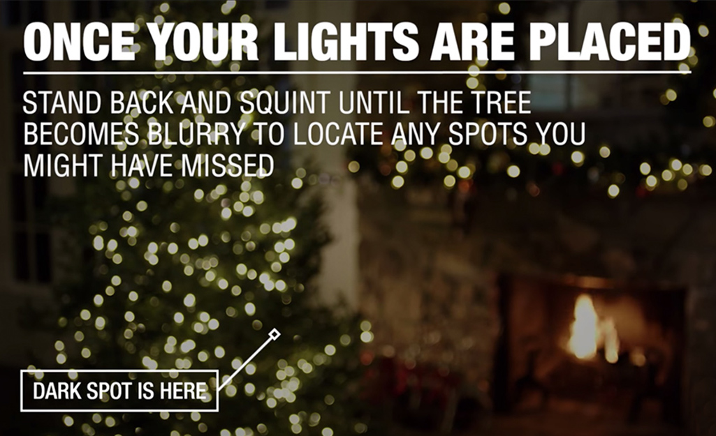 An illustration showing how a decorated Christmas tree looks when you stand back and look for spots that need lights.