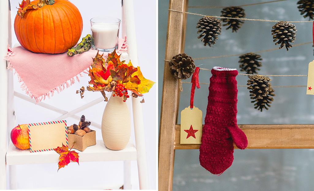 Những chiếc thang được trang trí bằng bí ngô, găng tay và những đồ trang trí cho kỳ nghỉ khác.