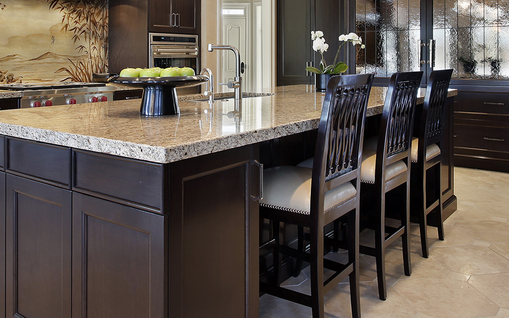 kitchen island with dining table addition and dining chairs