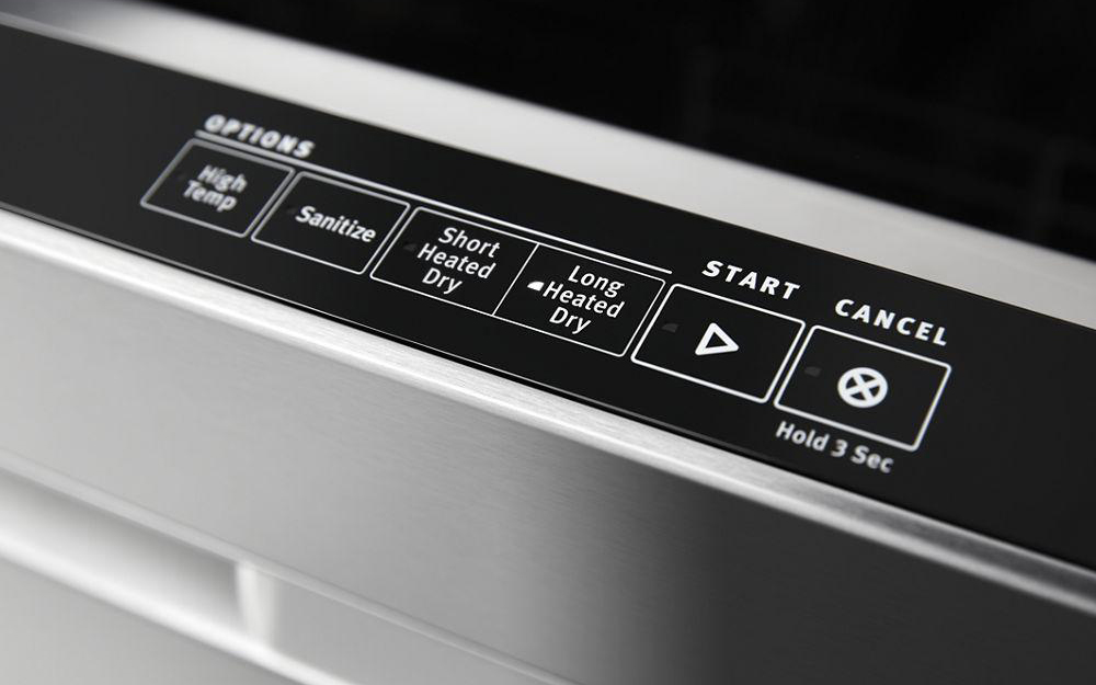Stainless steel built-in dishwasher with hidden control panel