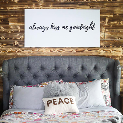 DIY Charred Wood Accent Wall for Your Master Bedroom