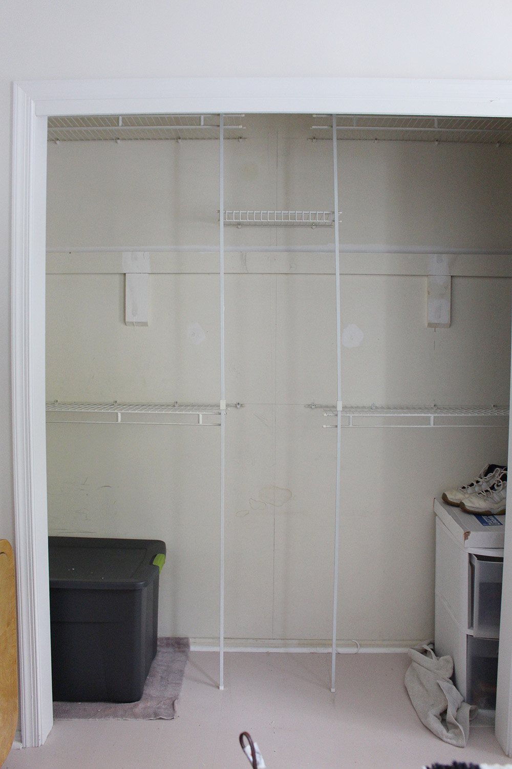 A closet with wire shelving and no doors.