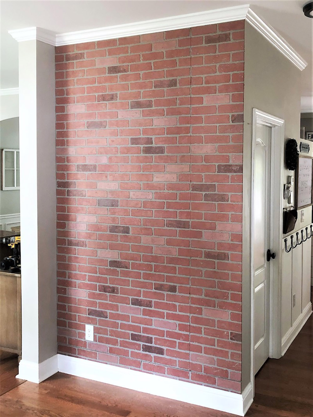 A faux brick accent wall.