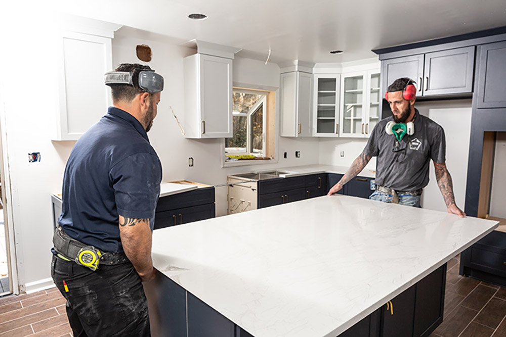 Workers Remodel a Kitchen
