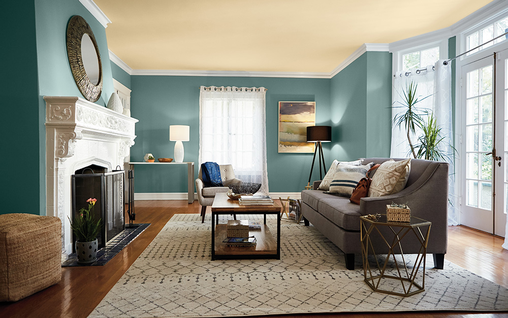 A living room with wainscoting.