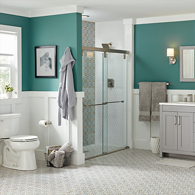 A bathroom with recessed panel wainscoting.