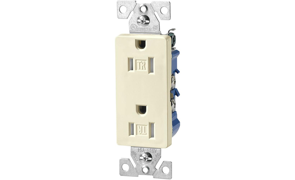 A split circuit receptacle against a white background.