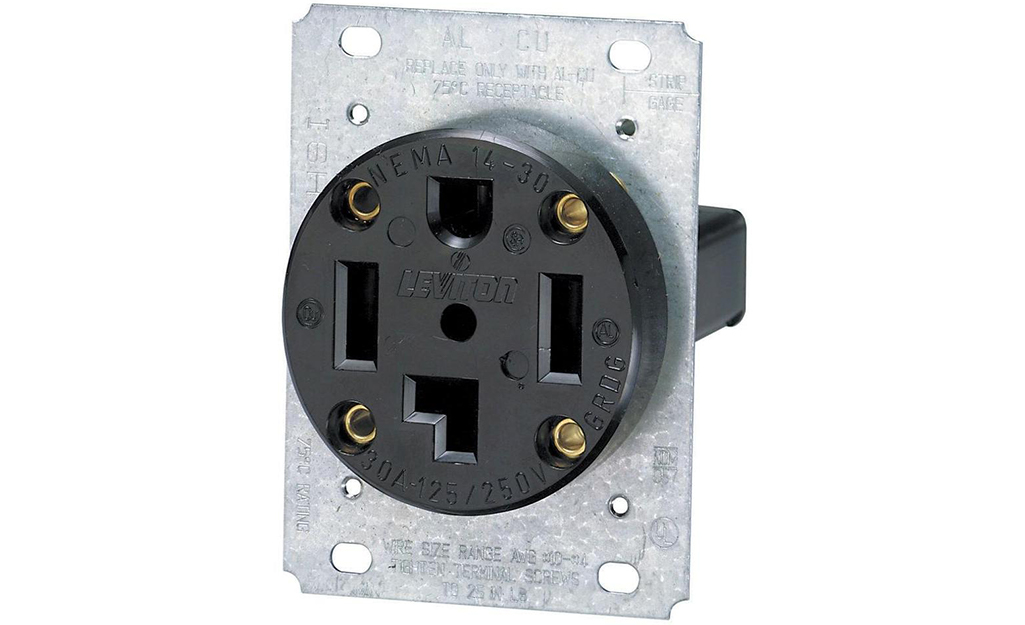 A 50-amp receptacle against a white background.