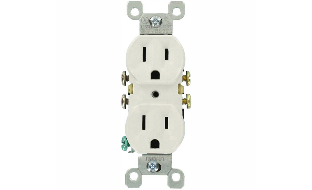 A 15-Amp duplex receptacle on a white background.