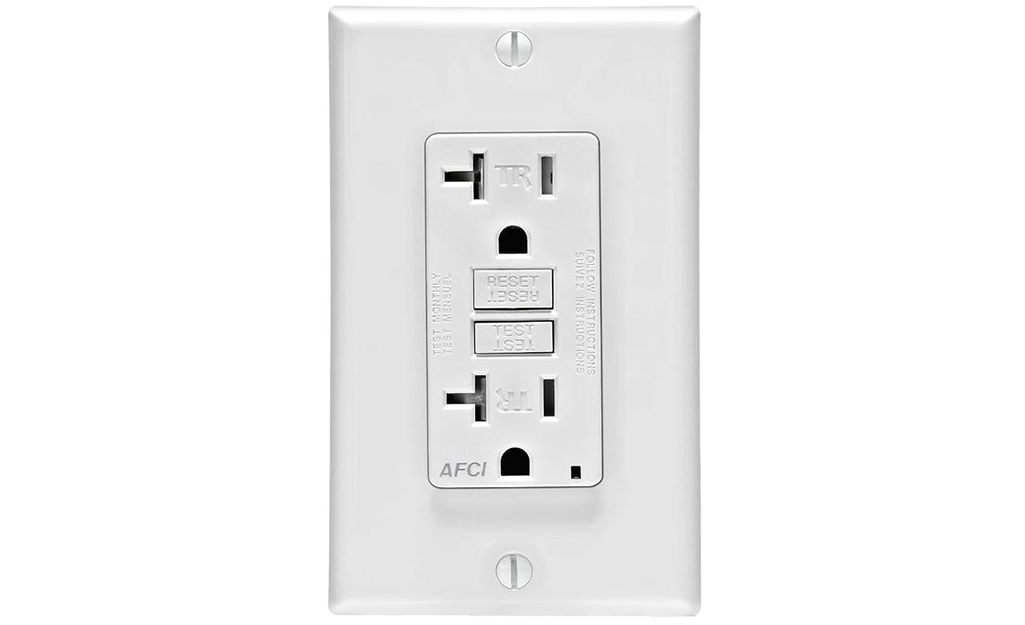 An AFCI outlet against a white background.