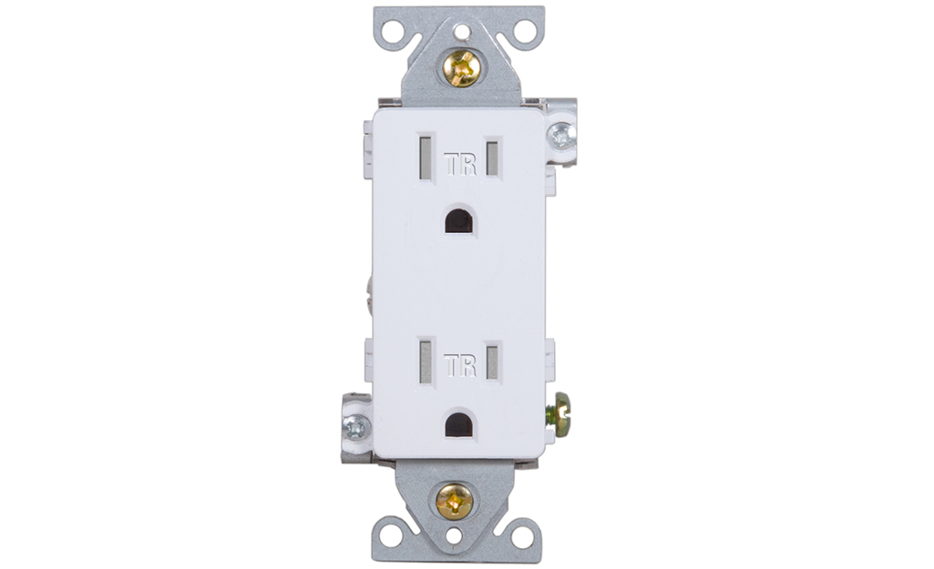 A tamper-resistant receptacle against a white background.