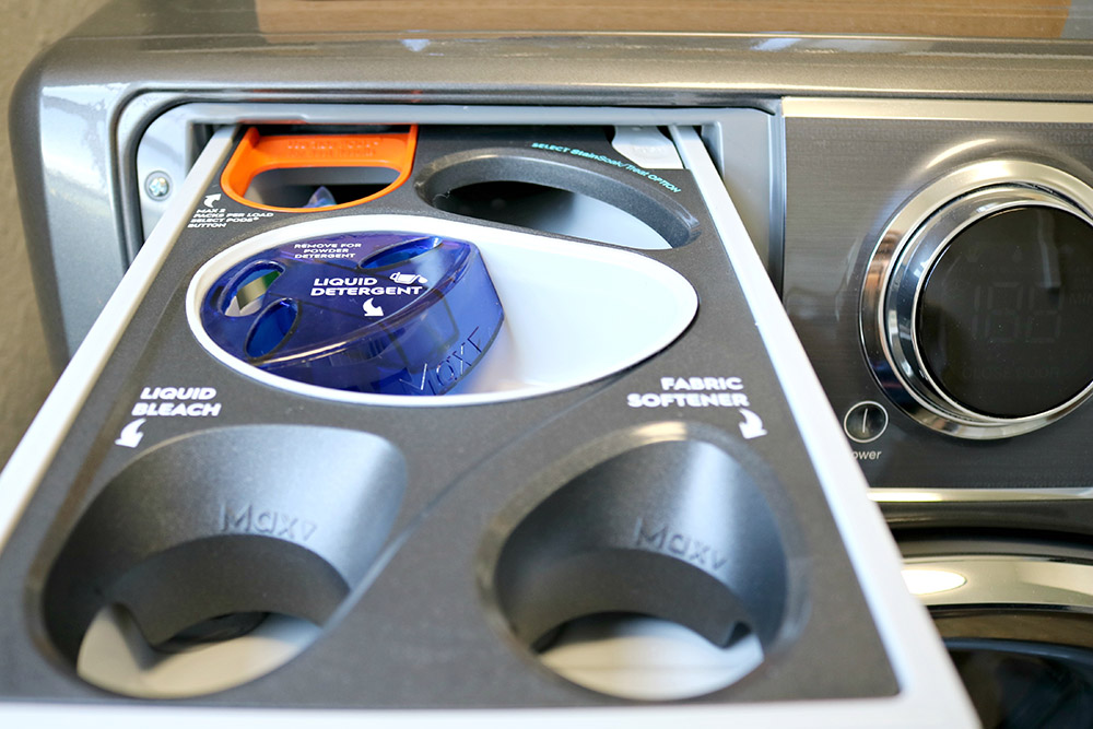 The laundry detergent compartment of an Electrolux Smart Boost Technology washer.