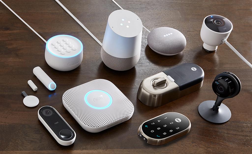 An assortment of smart home gadgets.