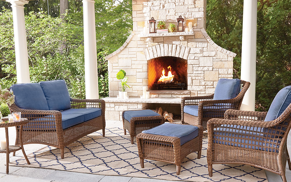 Outdoor fireplace on a patio.