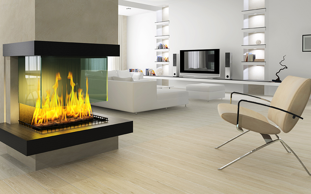 A two-sided fireplace heats a room from several angles.