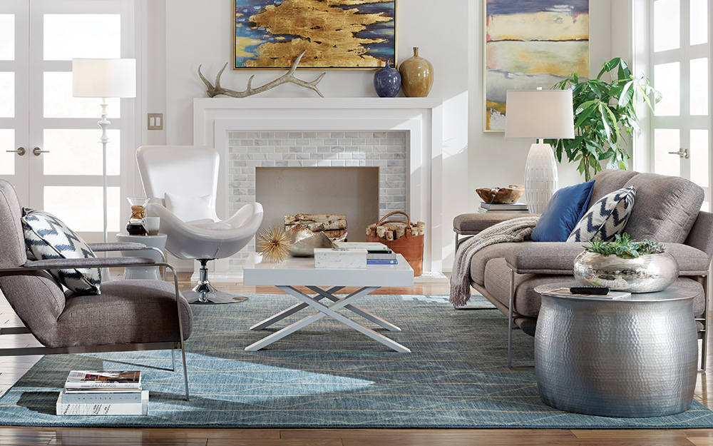 White-painted brick gives this fireplace a modern look.