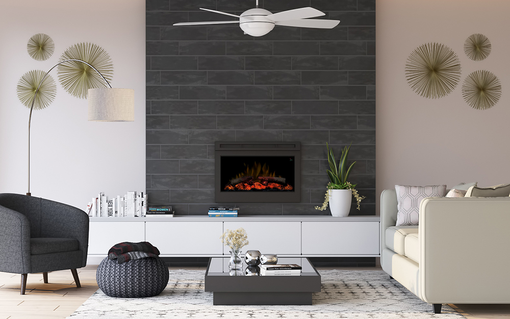 A fireplace extends to the ceiling of a contemporary living room.